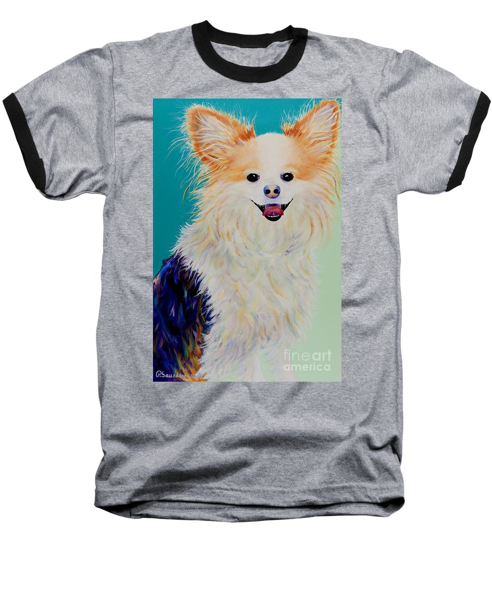 Animal Baseball T-Shirt featuring the painting Baxter by Pat Saunders-White