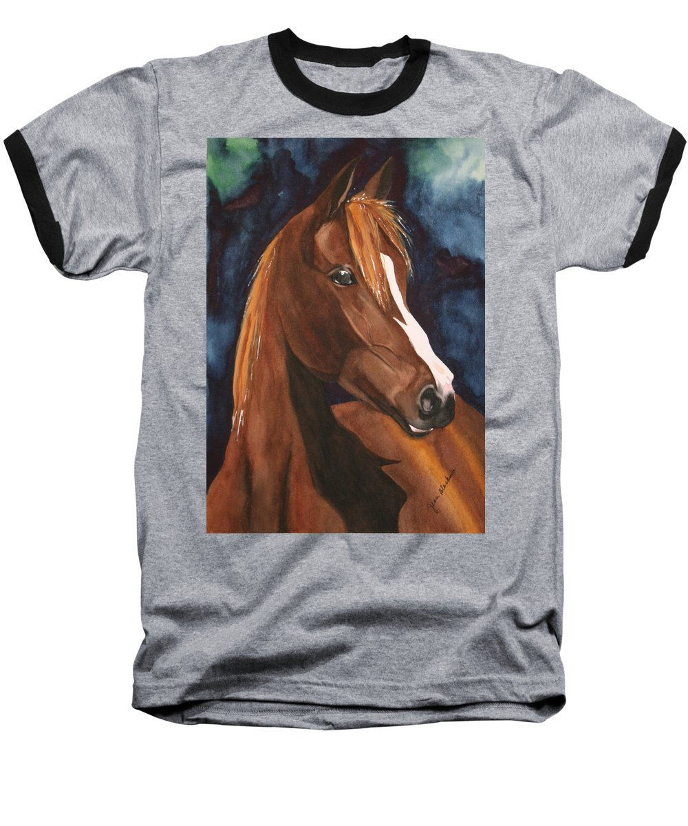 Horse Baseball T-Shirt featuring the painting Bay On Blue 2 by Jean Blackmer