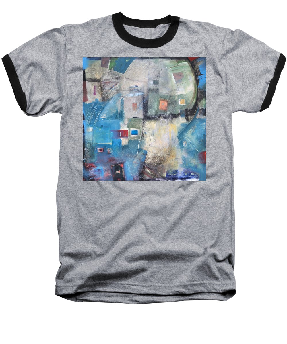 Abstract Baseball T-Shirt featuring the painting Bayer Works Wonders by Tim Nyberg