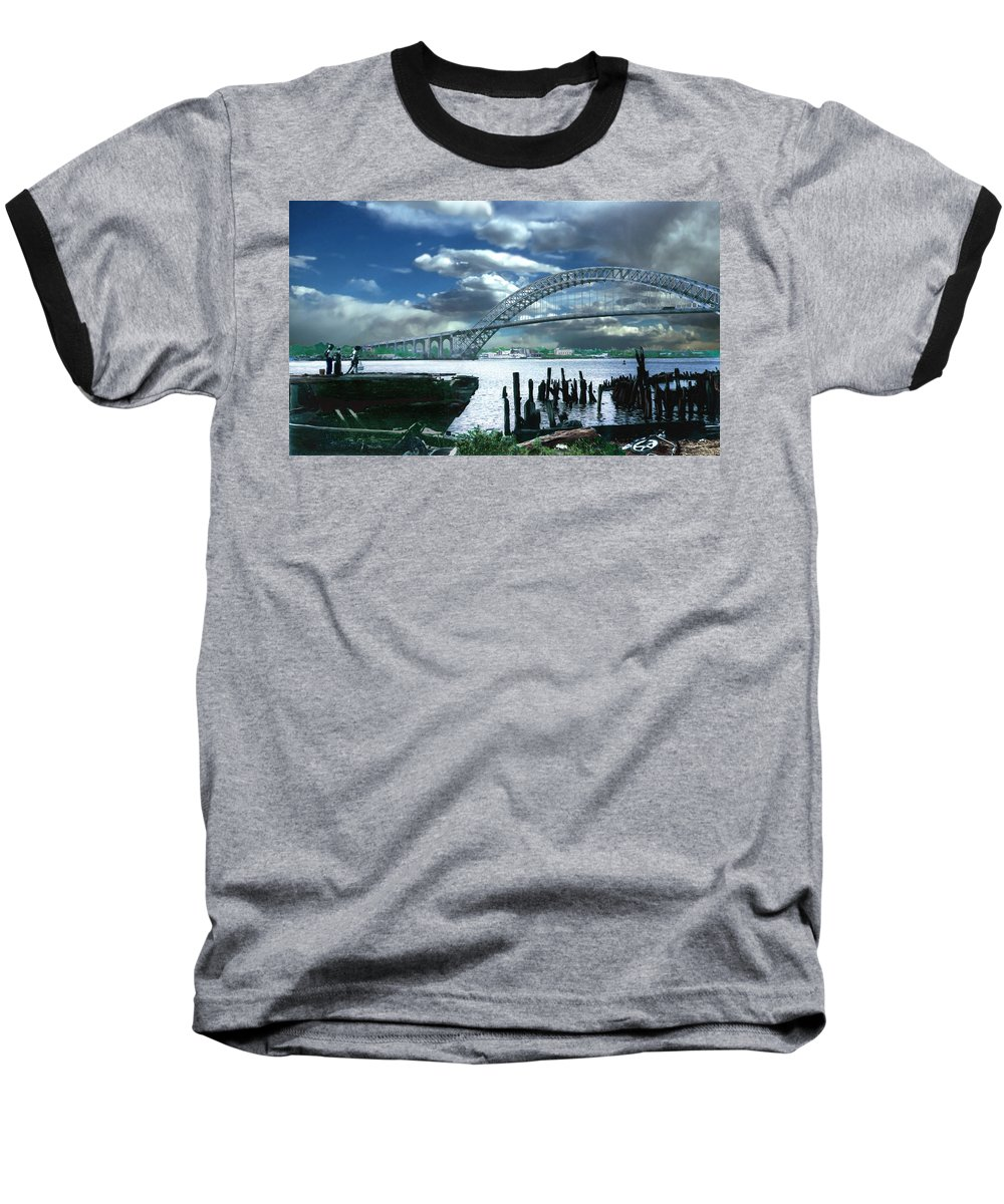 Seascape Baseball T-Shirt featuring the photograph Bayonne Bridge by Steve Karol