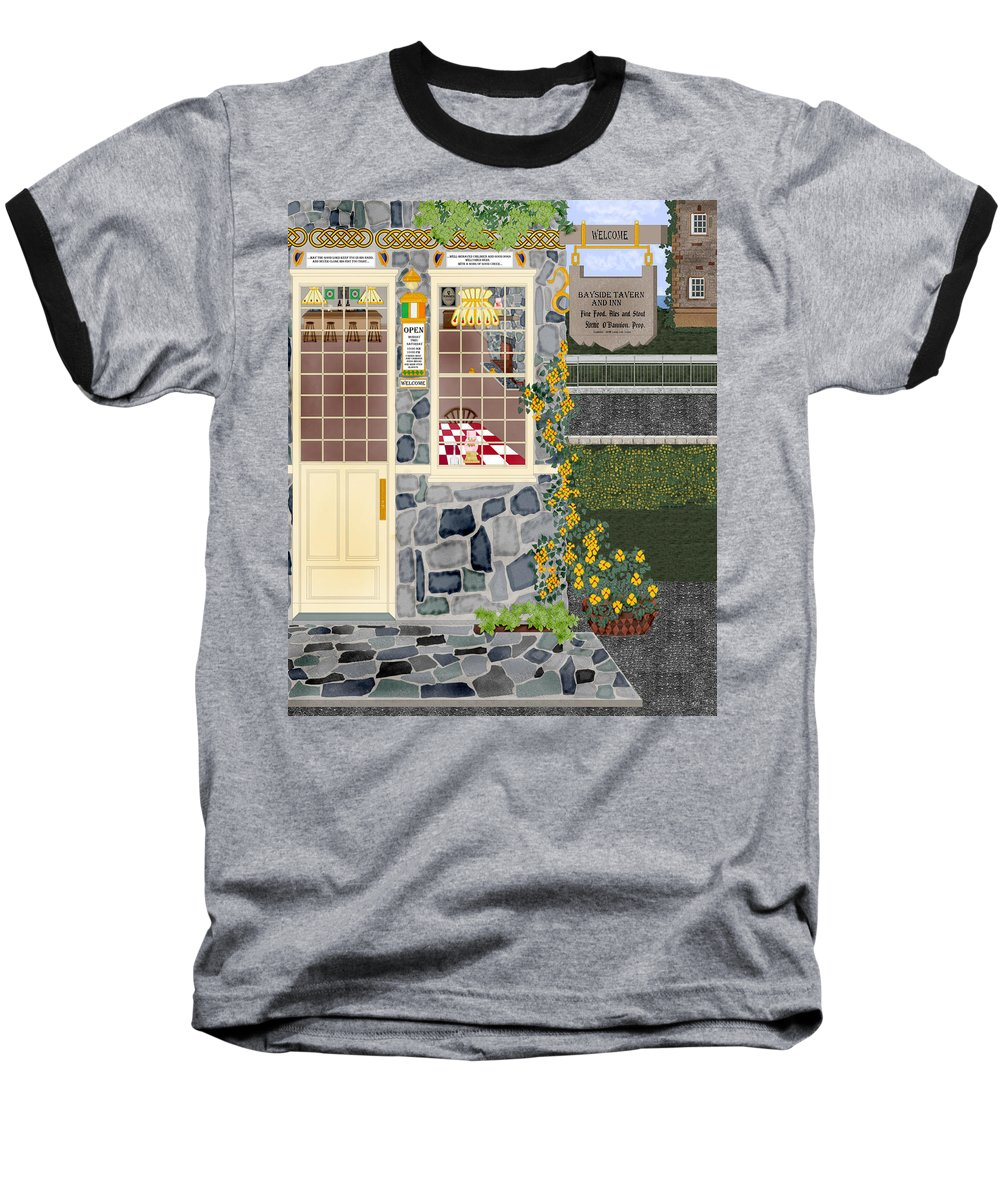 Quaint Inn Baseball T-Shirt featuring the painting Bayside Inn And Tavern In Ireland by Anne Norskog