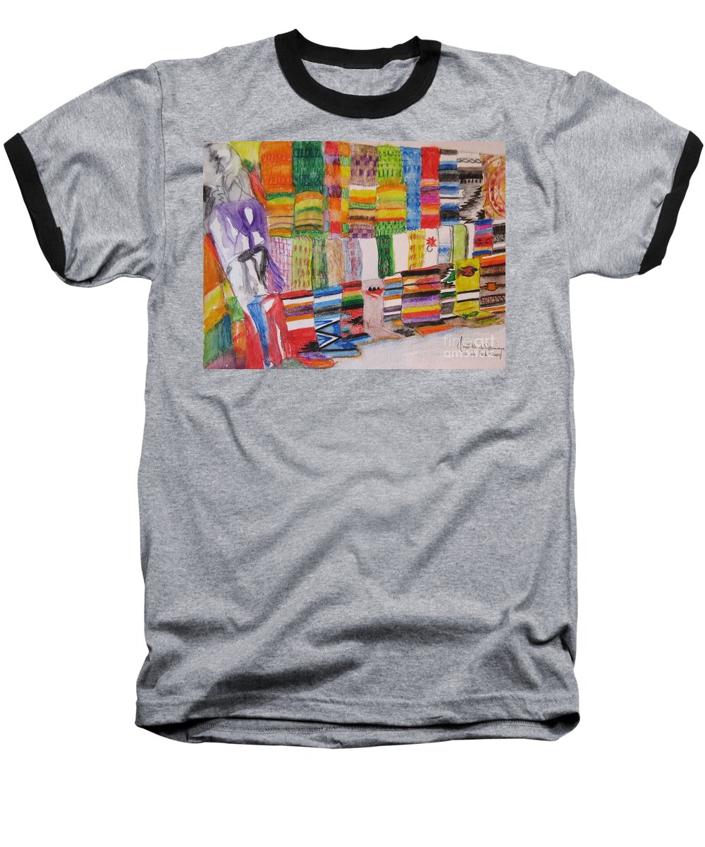 Bright Colors Baseball T-Shirt featuring the painting Bazaar Sabado - Gifted by Judith Espinoza