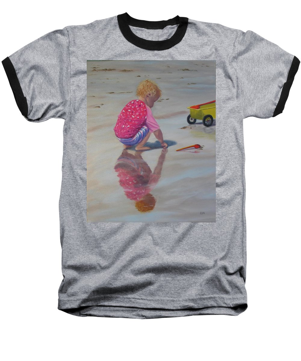 Baby Baseball T-Shirt featuring the painting Beach Baby by Lea Novak