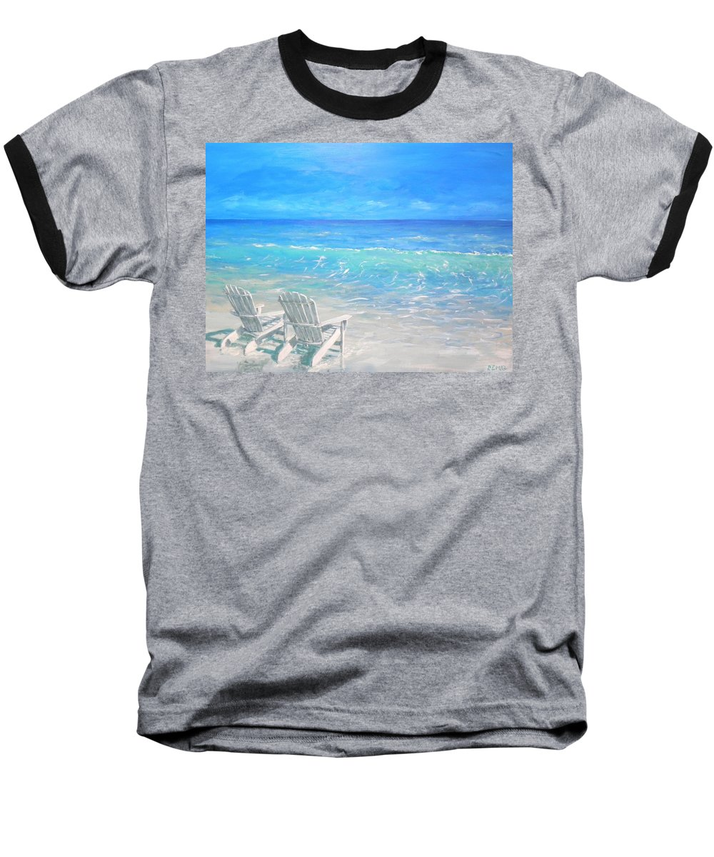 Beach Baseball T-Shirt featuring the painting Beach Relaxation by Paul Emig