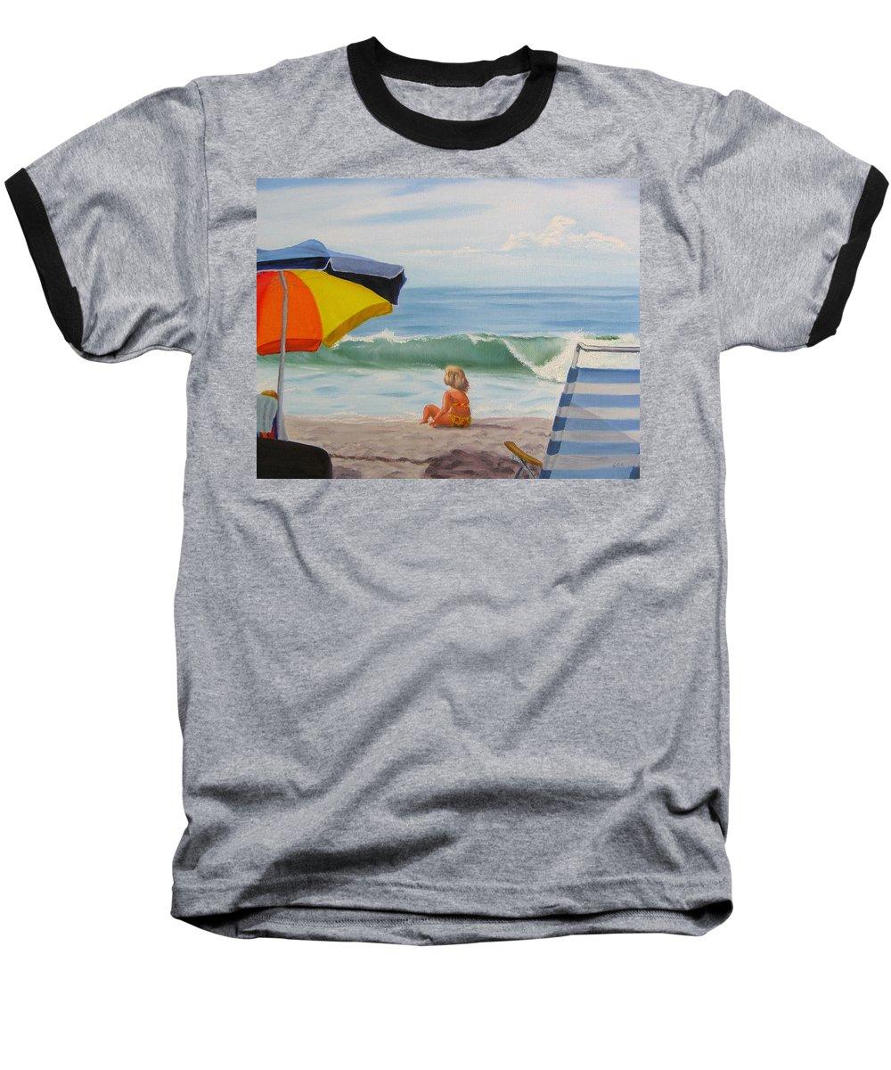 Seascape Baseball T-Shirt featuring the painting Beach Scene - Childhood by Lea Novak