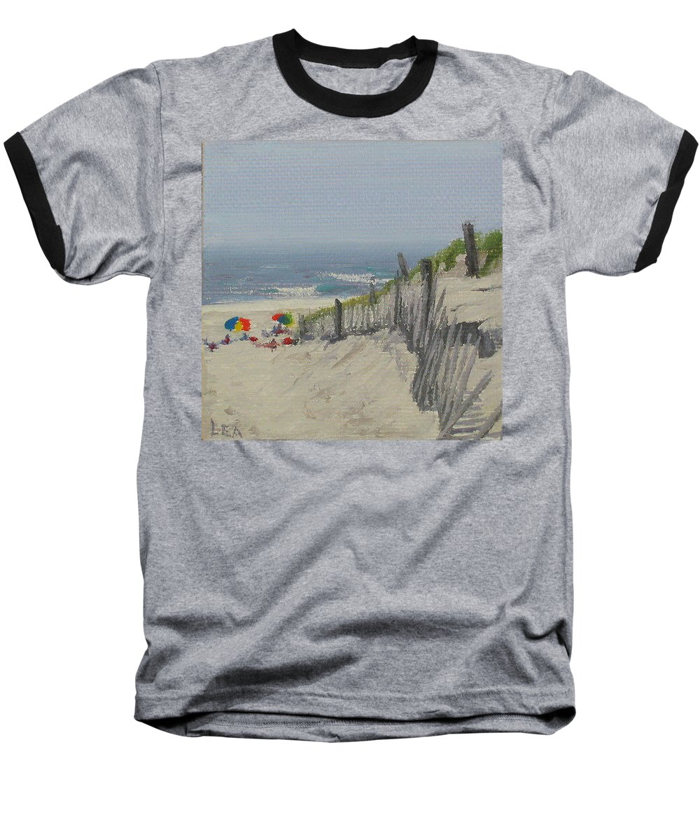 Beach Baseball T-Shirt featuring the painting Beach Scene Miniature by Lea Novak