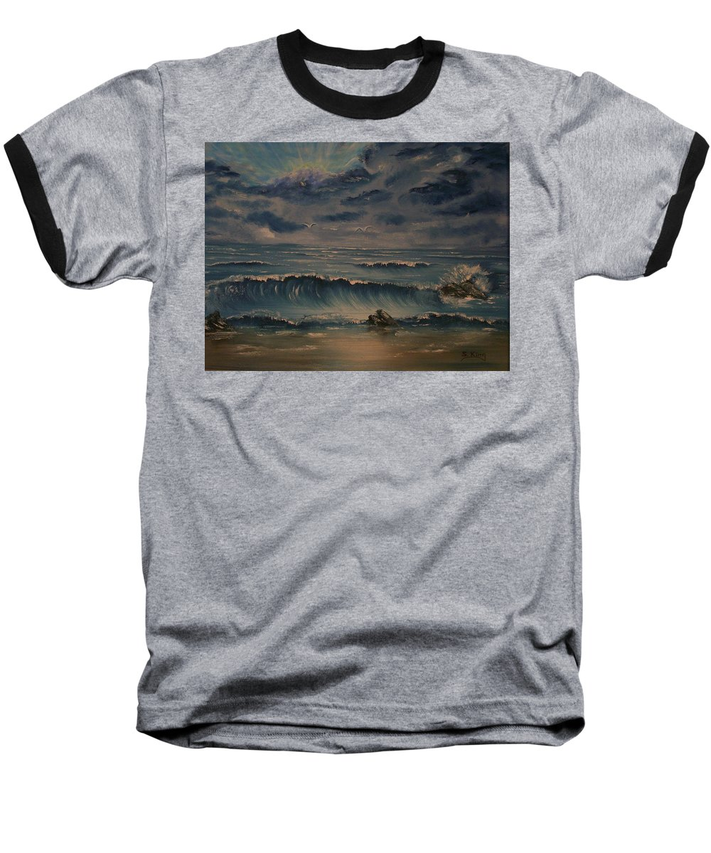 Water Baseball T-Shirt featuring the painting Beach Scene by Stephen King