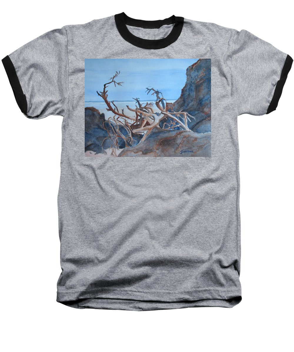Seascapes Baseball T-Shirt featuring the painting Beach Tangle by Jenny Armitage