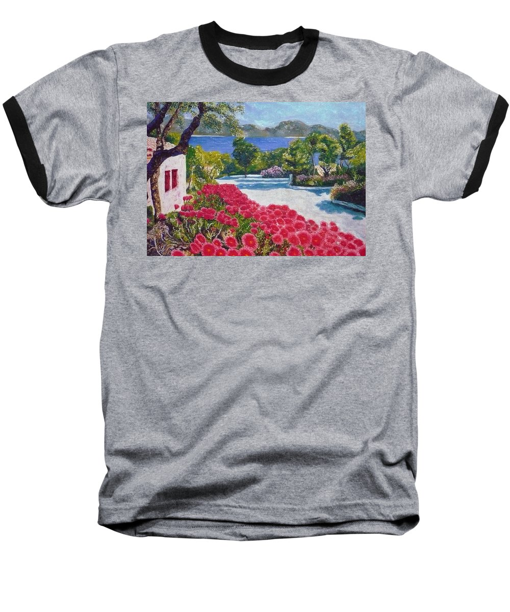 Landscape Baseball T-Shirt featuring the painting Beach With Flowers by Ericka Herazo