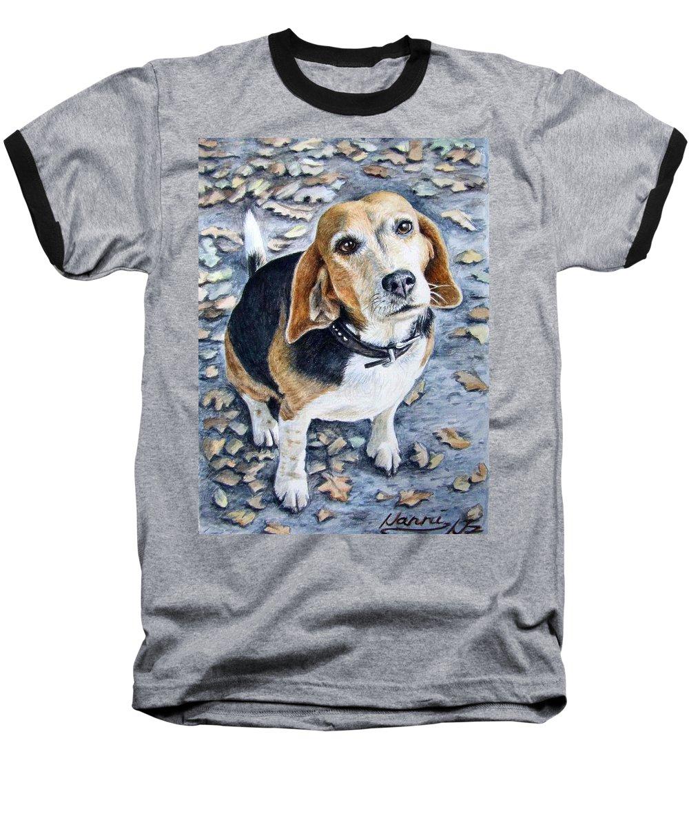 Dog Baseball T-Shirt featuring the painting Beagle Nanni by Nicole Zeug