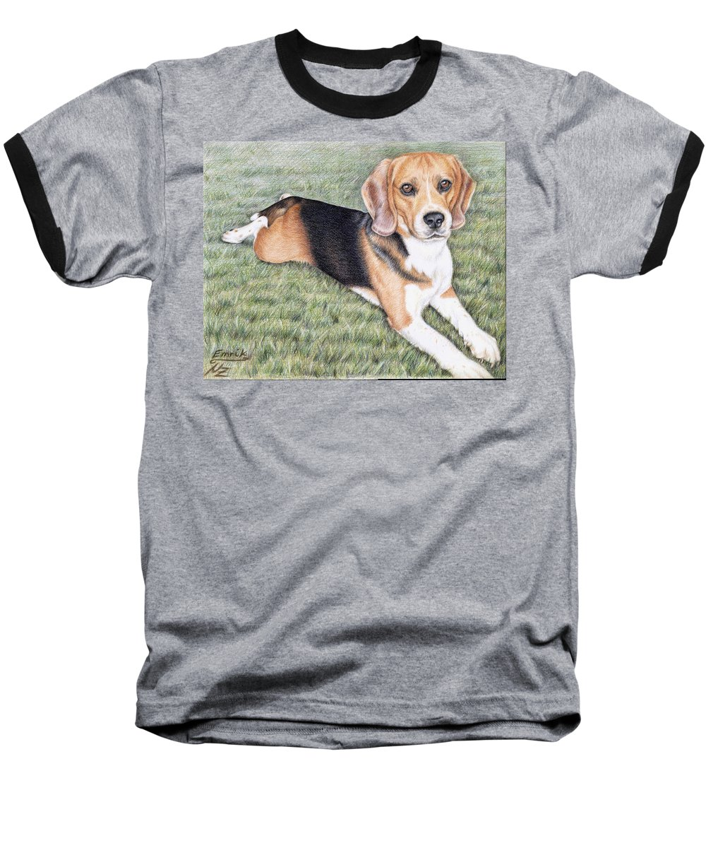 Dog Baseball T-Shirt featuring the drawing Beagle by Nicole Zeug