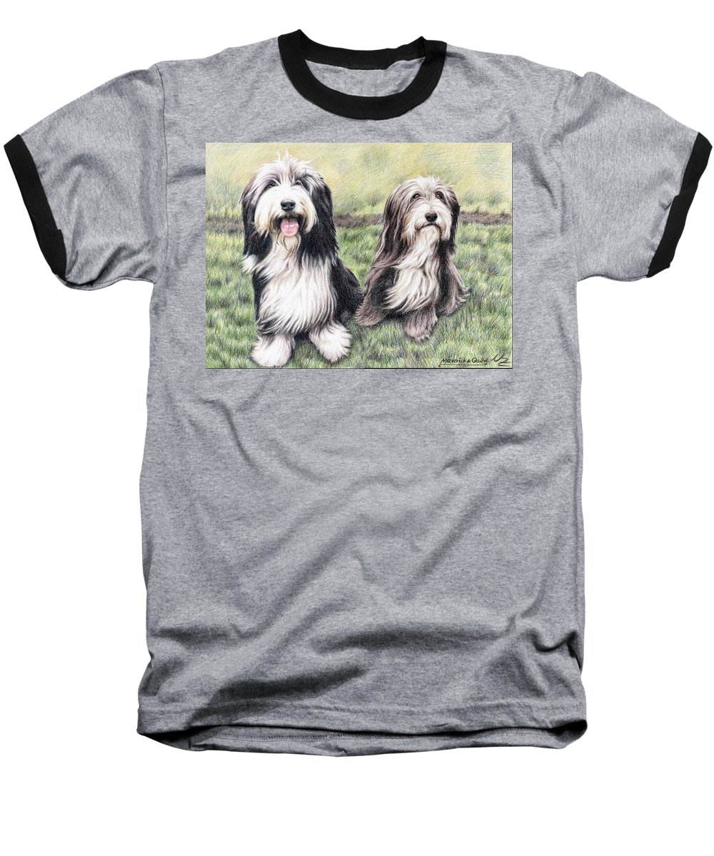 Dogs Baseball T-Shirt featuring the drawing Bearded Collies by Nicole Zeug