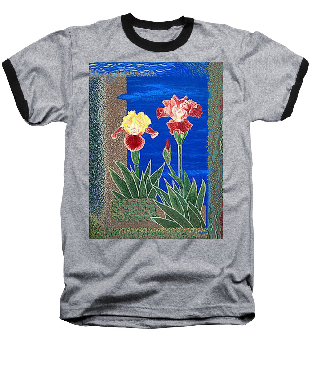 Irises Baseball T-Shirt featuring the painting Bearded Irises Cheerful Fine Art Print Giclee High Quality Exceptional Color by Baslee Troutman