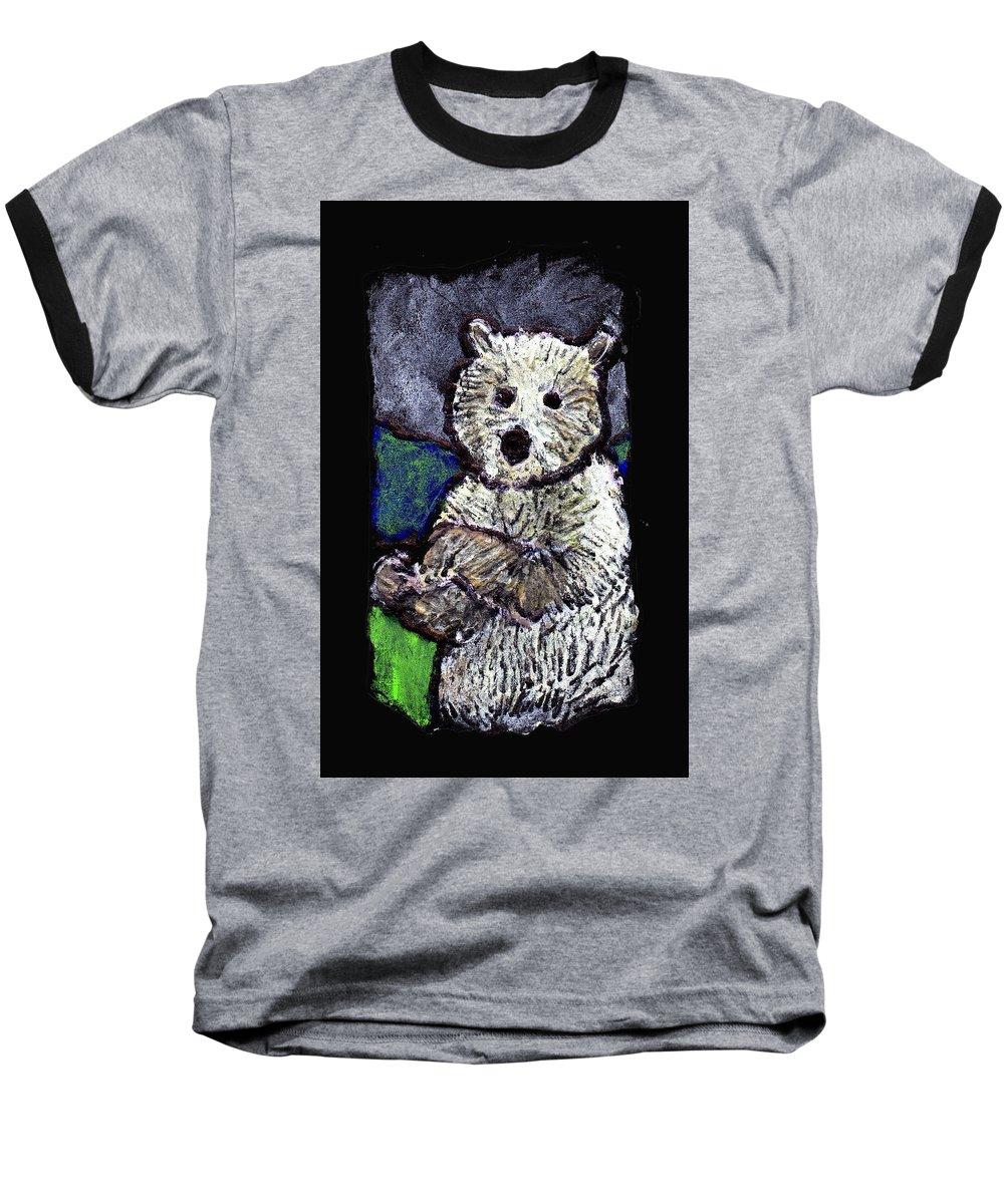Bear Baseball T-Shirt featuring the painting Bearly Scary by Wayne Potrafka