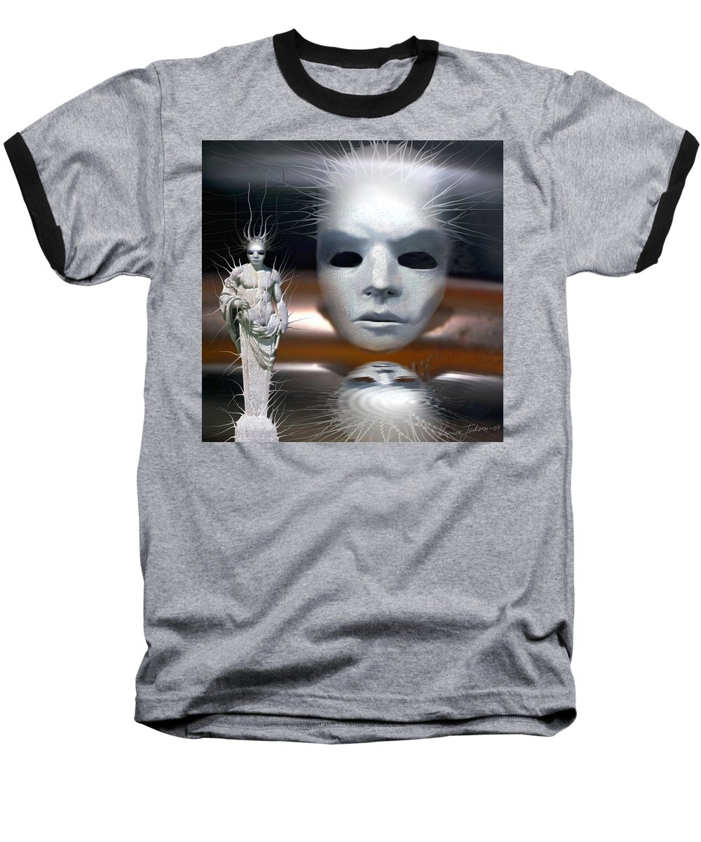 Digital Beauty Eyes Water Baseball T-Shirt featuring the digital art Beauty Is Invisible To The Eye. by Veronica Jackson