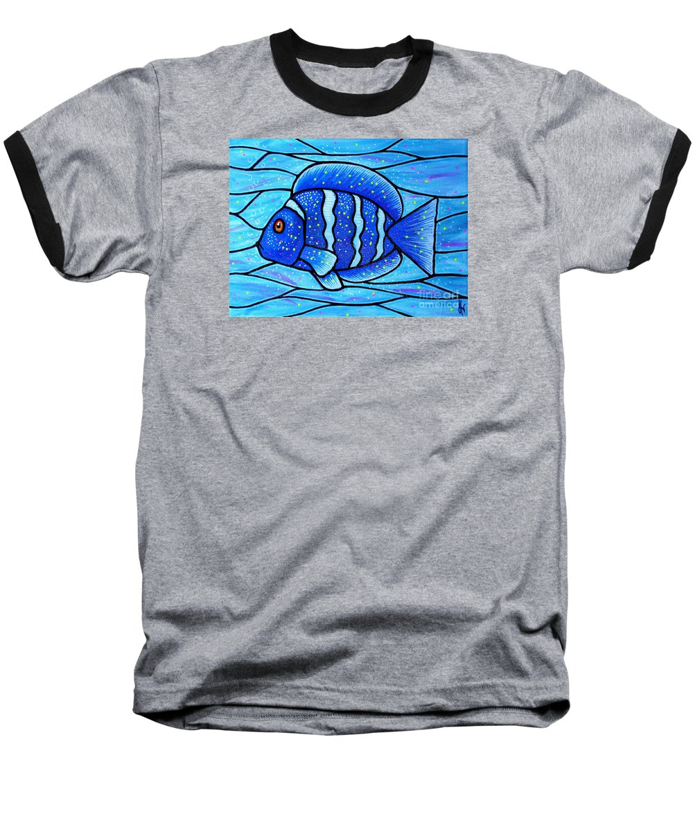 Tropical Fish Baseball T-Shirt featuring the painting Beckys Blue Tropical Fish by Jim Harris