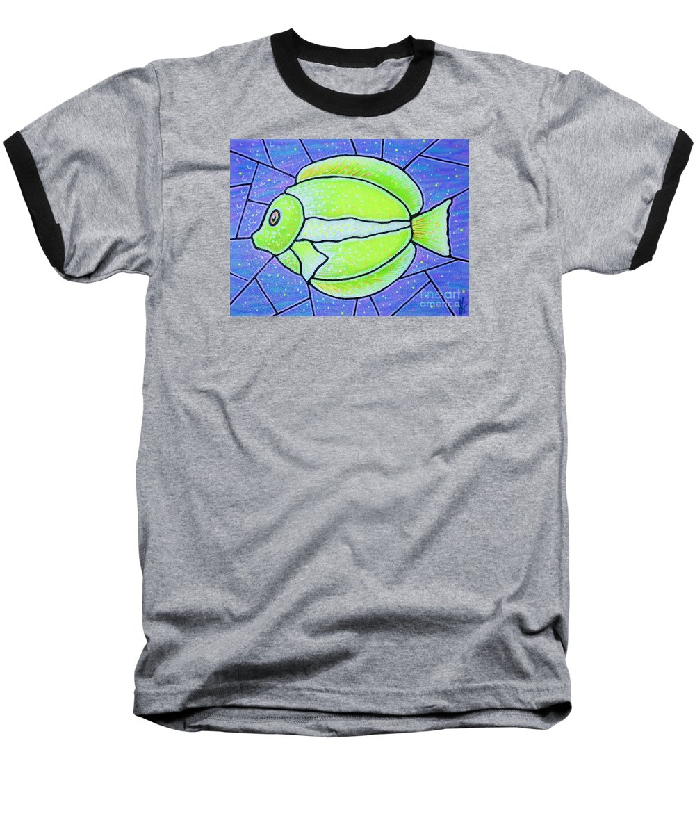 Tropical Fish Baseball T-Shirt featuring the painting Beckys Yellow Tropical Fish by Jim Harris