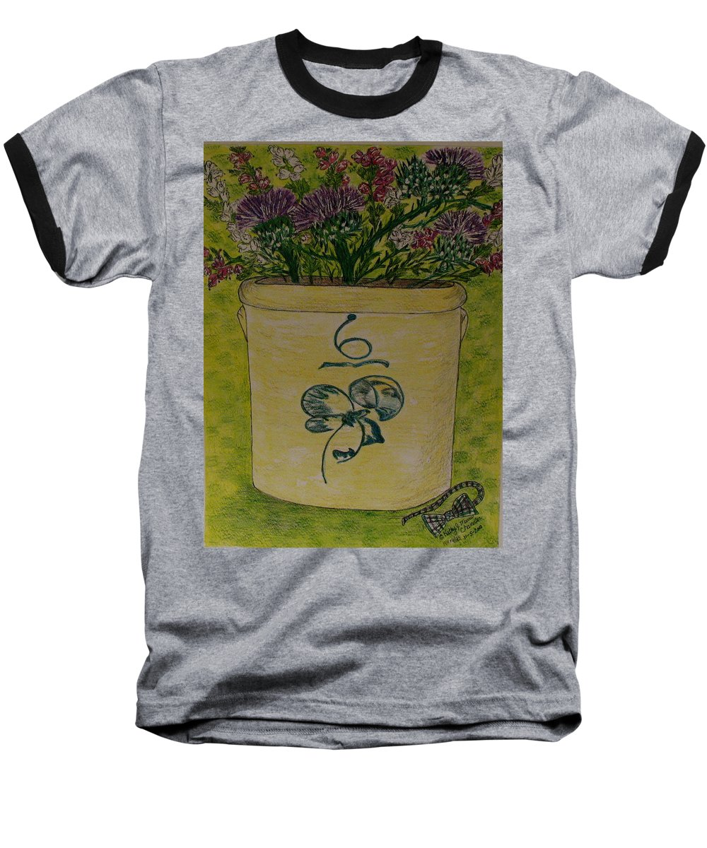 Bee Sting Crock Baseball T-Shirt featuring the painting Bee Sting Crock With Good Luck Bow Heather And Thistles by Kathy Marrs Chandler
