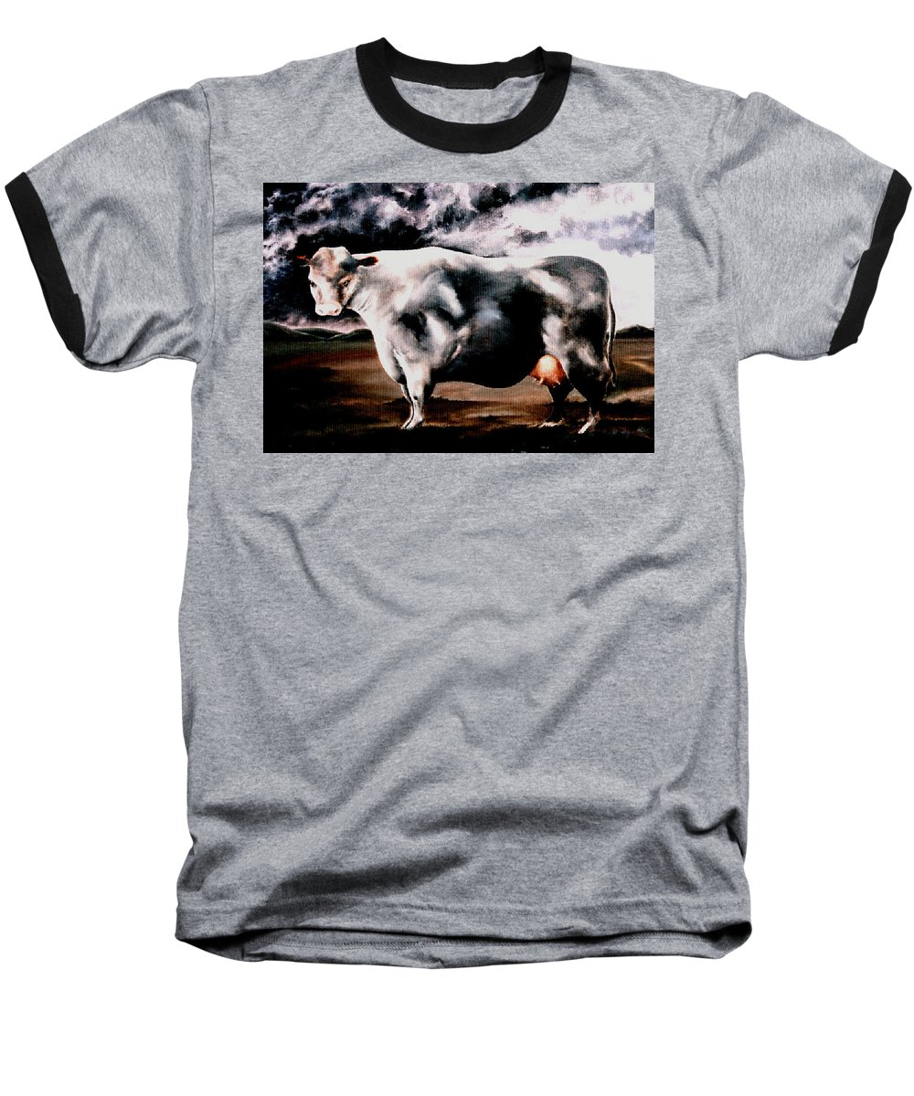 Cow Baseball T-Shirt featuring the painting Beef Holocaust Iv by Mark Cawood