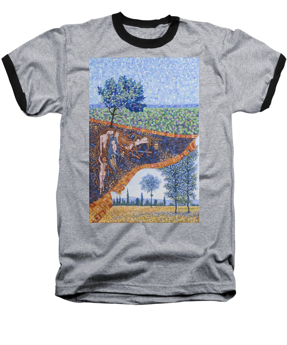 Canvas Baseball T-Shirt featuring the painting Behind The Canvas by Judy Henninger