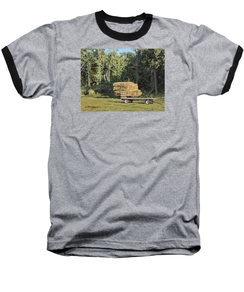 Landscape Baseball T-Shirt featuring the painting Behind The Grove by Bruce Morrison