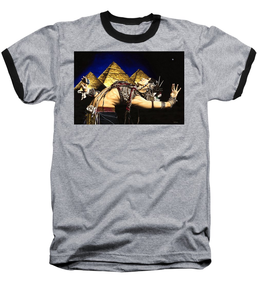 Bellydance Baseball T-Shirt featuring the painting Bellydance Of The Pyramids - Rachel Brice by Richard Young