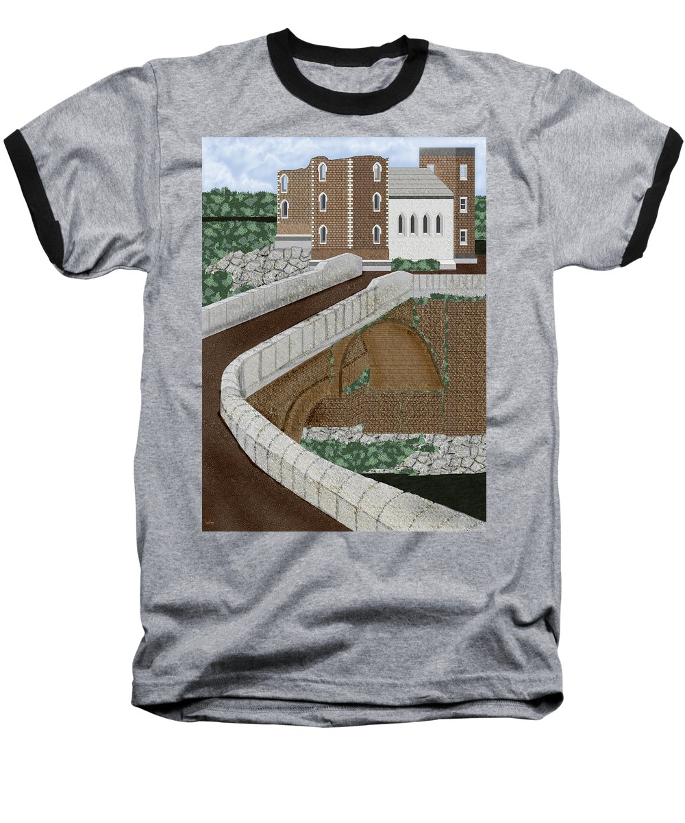 Castle Ruins Baseball T-Shirt featuring the painting Beloved Ruins by Anne Norskog