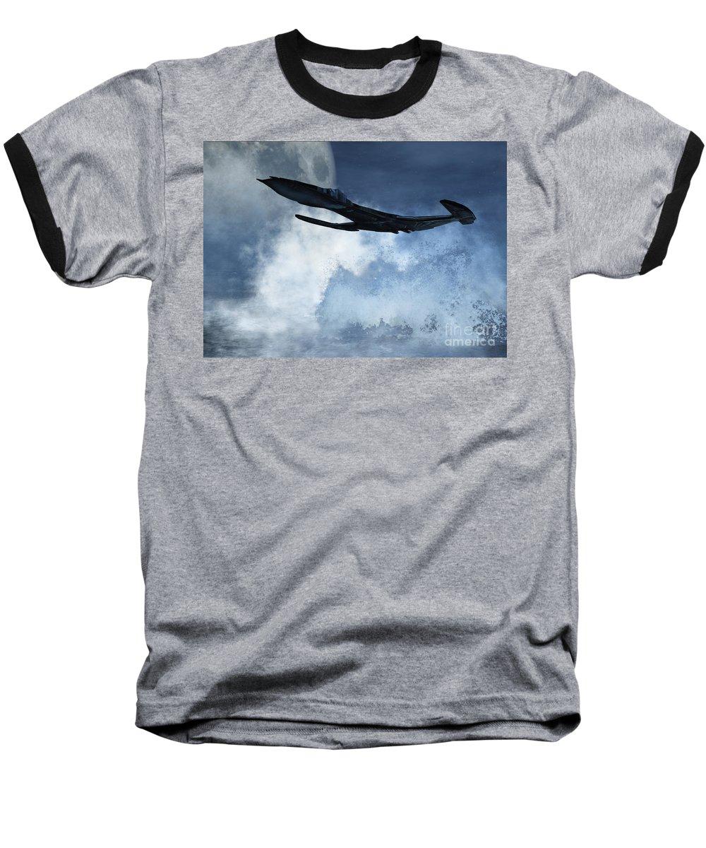 Flight Baseball T-Shirt featuring the digital art Below Radar by Richard Rizzo
