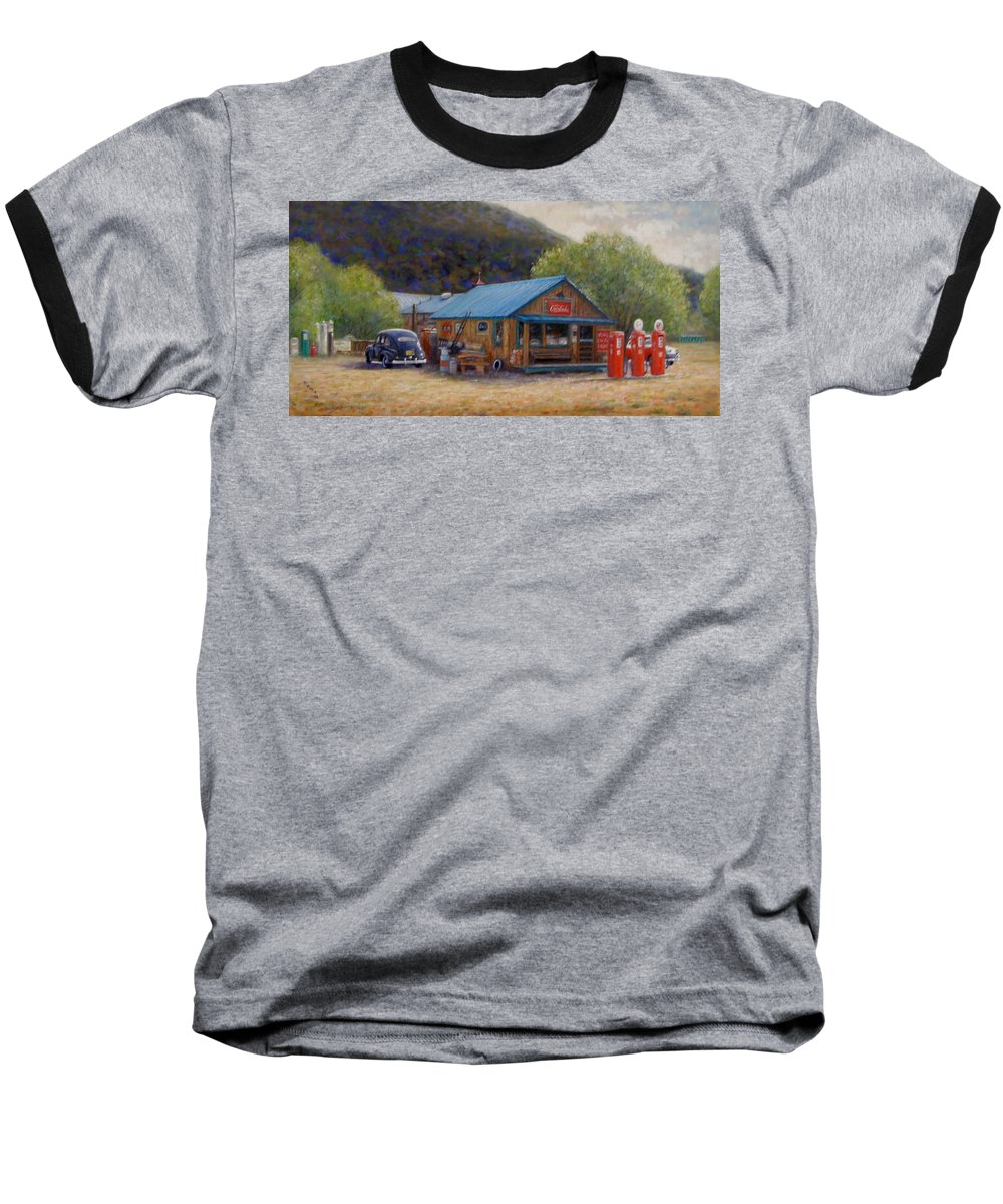 Realism Baseball T-Shirt featuring the painting Below Taos 2 by Donelli DiMaria