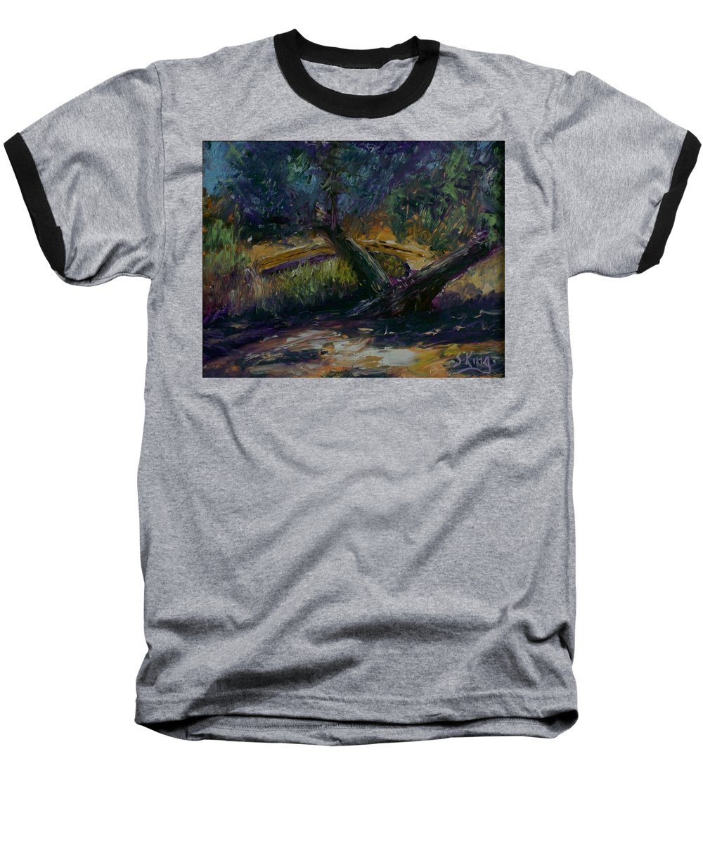 Landscape Baseball T-Shirt featuring the painting Bent Tree by Stephen King