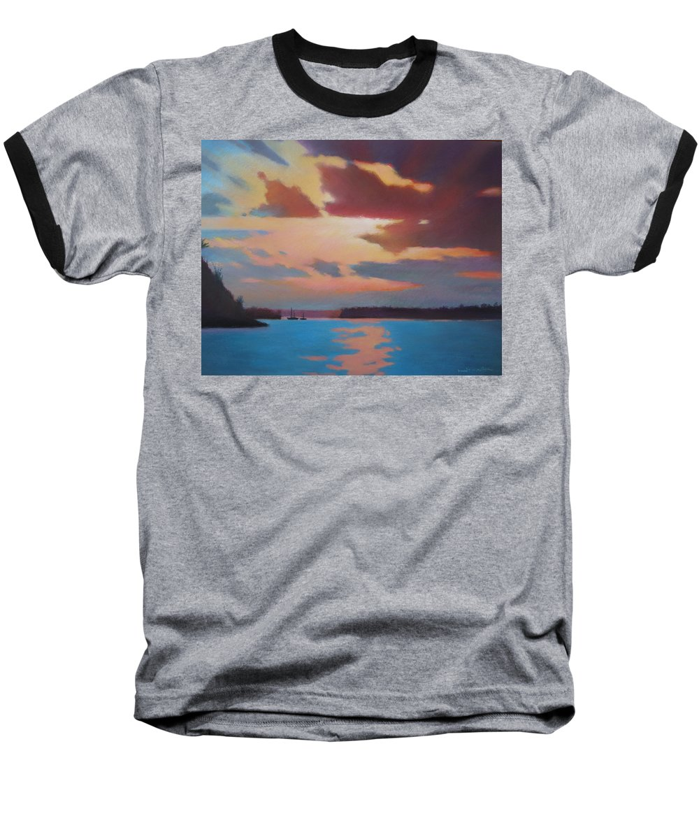 Bermuda Seascape Baseball T-Shirt featuring the painting Bermuda Sunset by Dianne Panarelli Miller