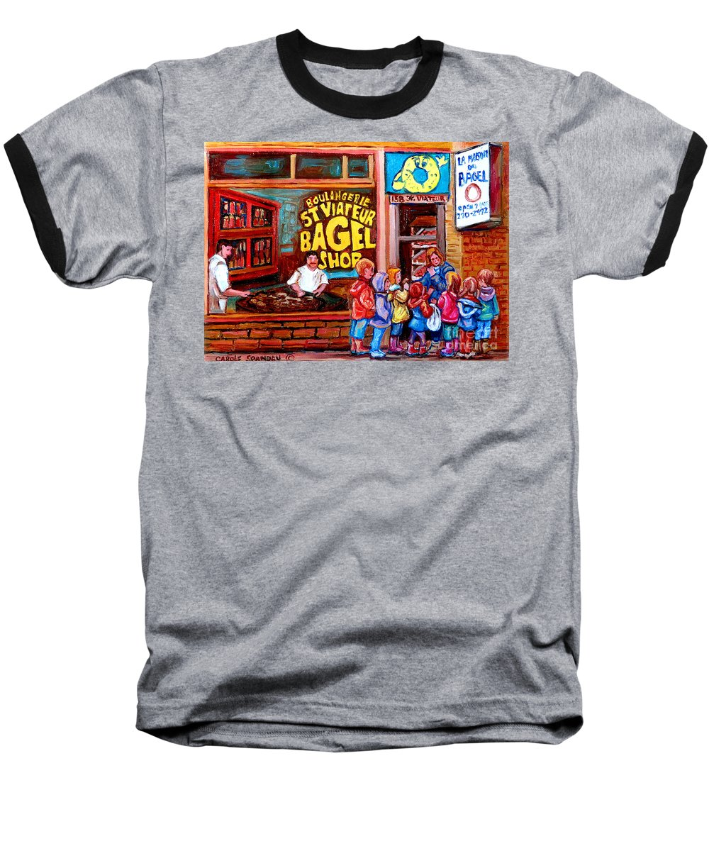 Children Baseball T-Shirt featuring the painting Bet You Cant Eat Just One by Carole Spandau