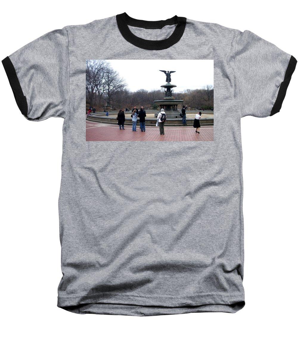 Bethesda Fountain Baseball T-Shirt featuring the photograph Bethesda Fountain by Anita Burgermeister