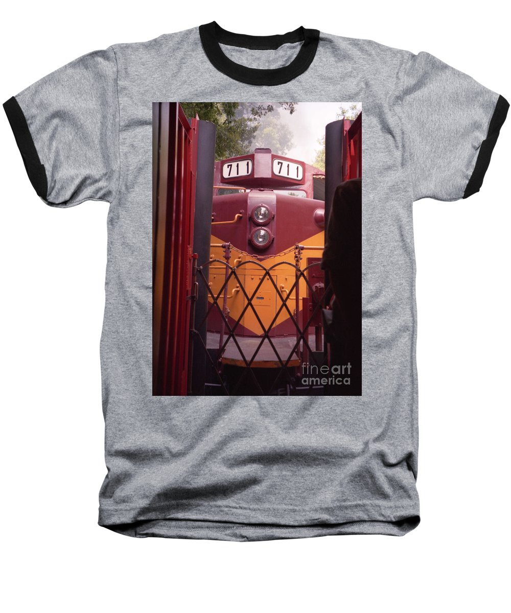 Trains Baseball T-Shirt featuring the photograph Big Red by Richard Rizzo