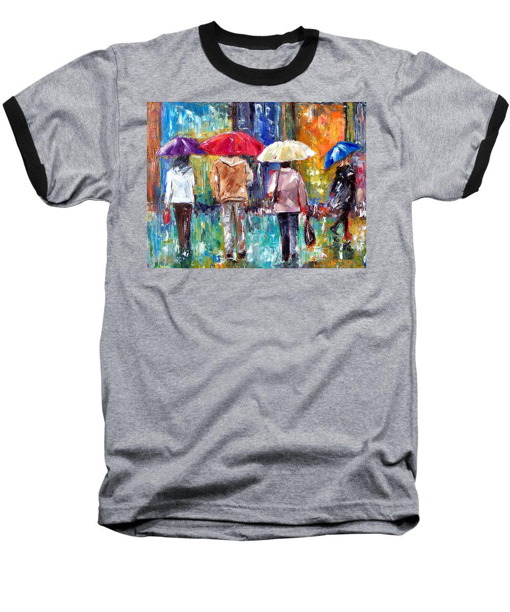 Rain Baseball T-Shirt featuring the painting Big Red Umbrella by Debra Hurd
