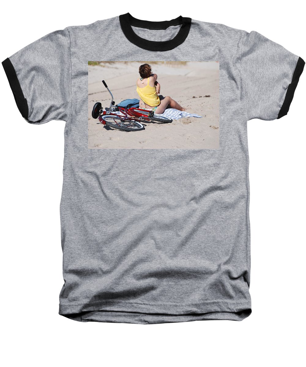Red Baseball T-Shirt featuring the photograph Bike On The Beach by Rob Hans
