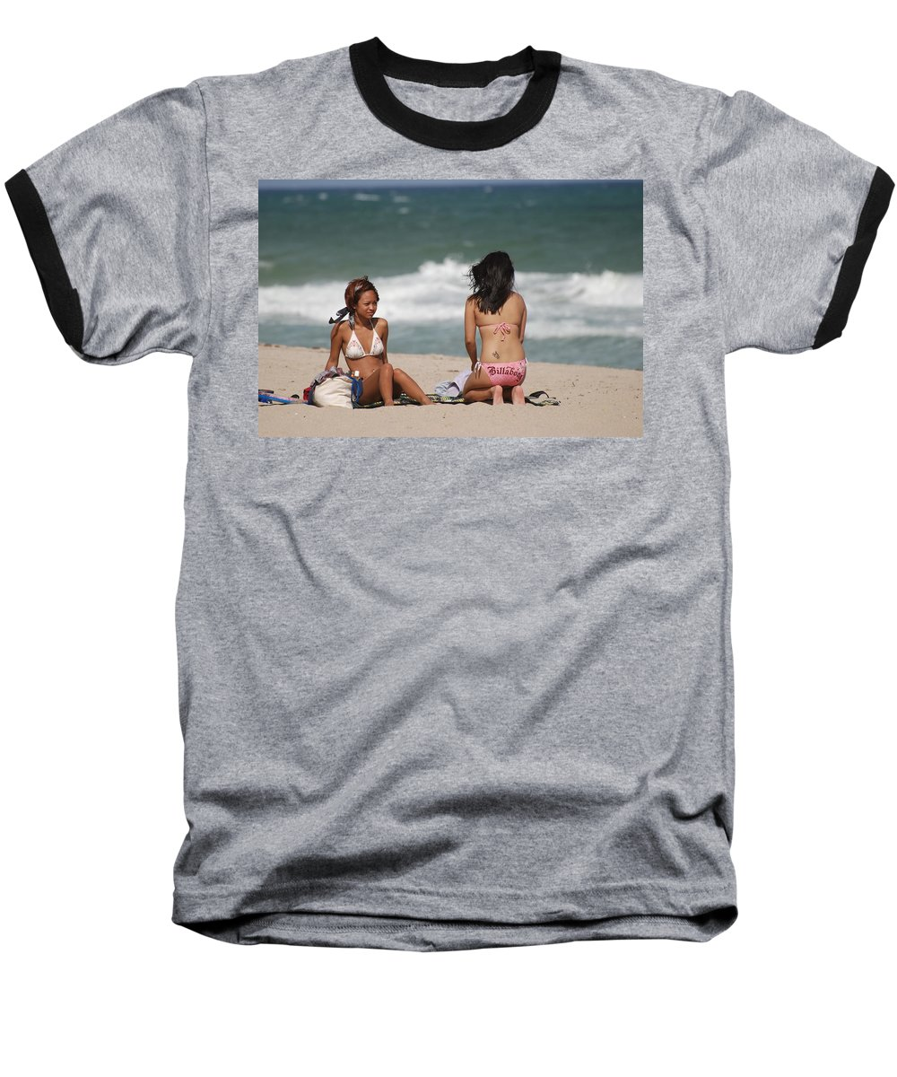 Sea Scape Baseball T-Shirt featuring the photograph Billabong Girls by Rob Hans