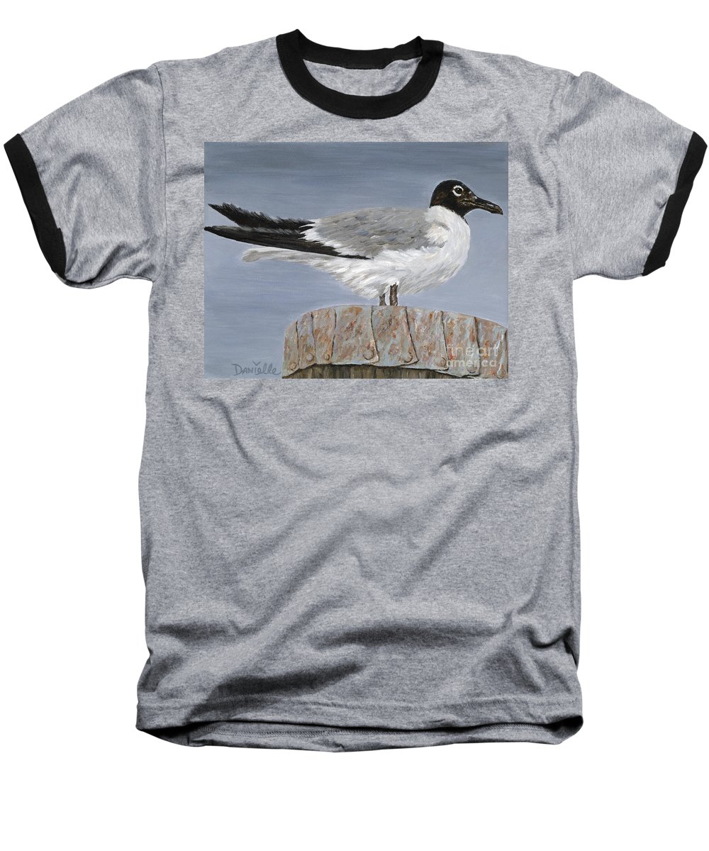 Seagull Baseball T-Shirt featuring the painting Bimini Gull by Danielle Perry