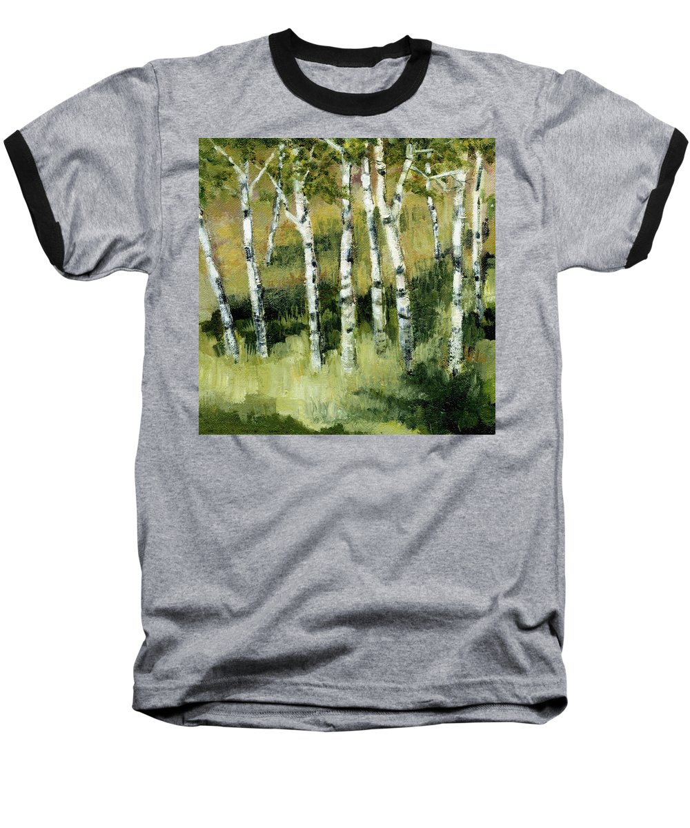 Trees Baseball T-Shirt featuring the painting Birches On A Hill by Michelle Calkins