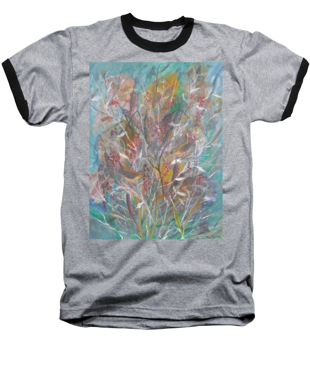 Birds Baseball T-Shirt featuring the painting Birds In A Bush by Ben Kiger