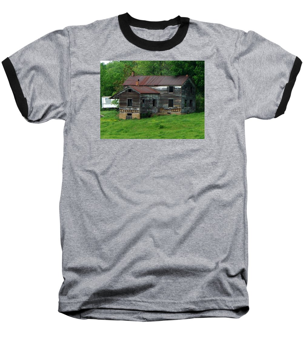 Oldhouse Baseball T-Shirt featuring the photograph Birds On Chimneys by J R  Seymour