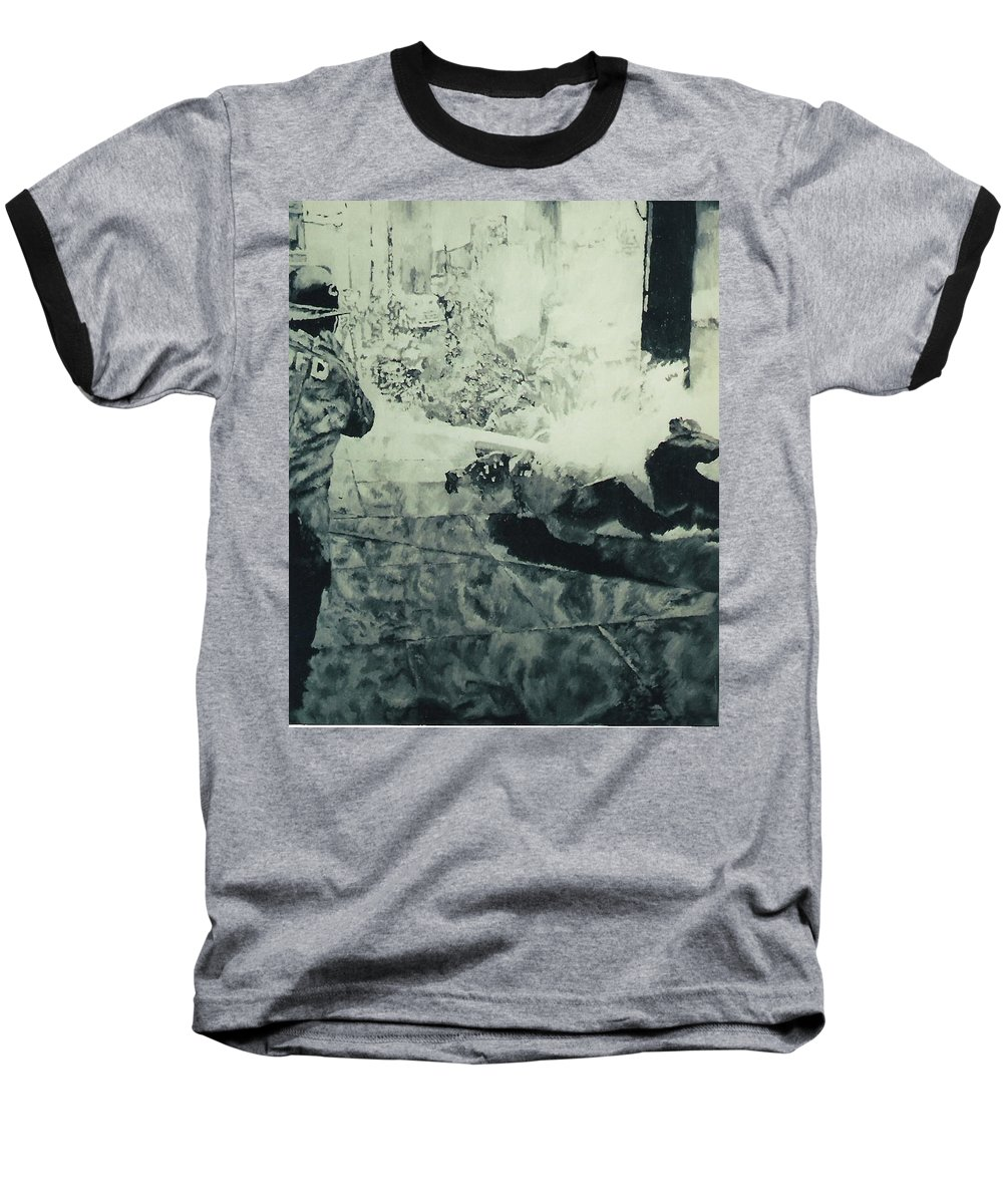Civil Rights Movement Baseball T-Shirt featuring the painting Birmingham Fire Department Sprays Protestor With High Pressure Water Hoses 1963 by Lauren Luna