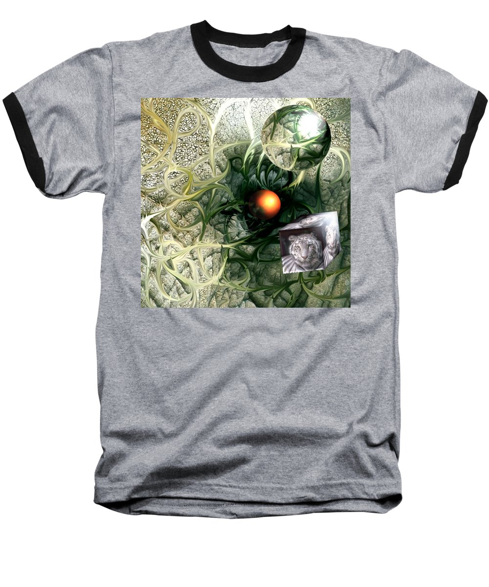 Abstract Nature Red Birth Tiger Spheres Wire Baseball T-Shirt featuring the digital art Birth by Veronica Jackson