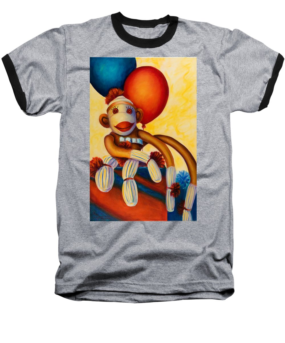 Sock Monkey Brown Baseball T-Shirt featuring the painting Birthday Made Of Sockies by Shannon Grissom