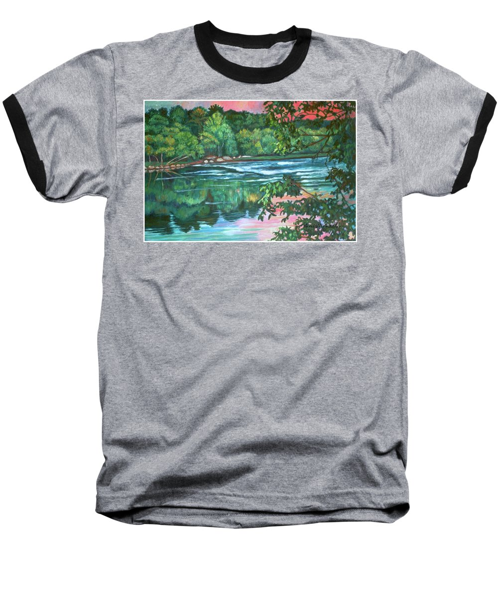River Baseball T-Shirt featuring the painting Bisset Park Rapids by Kendall Kessler