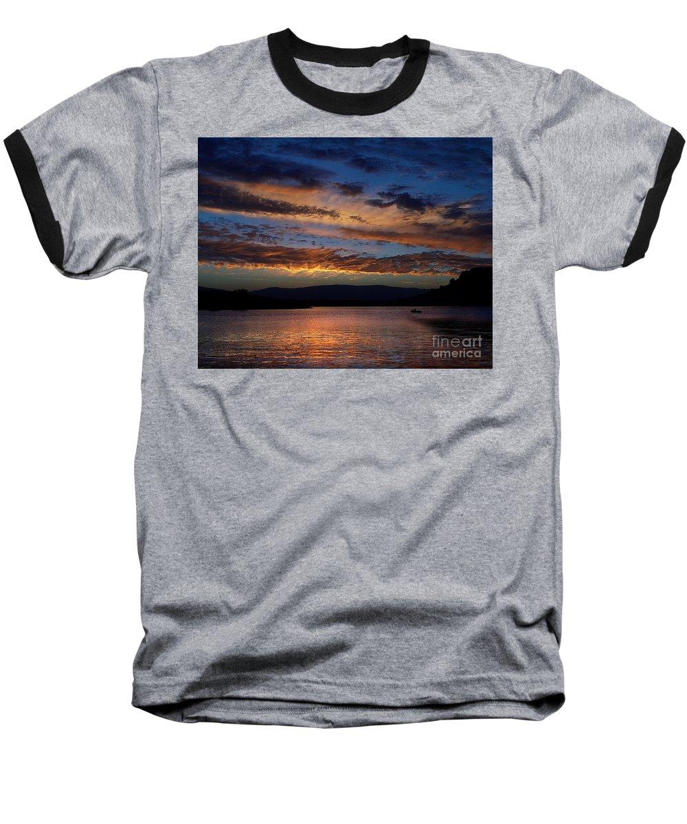 Black Butte Sunset Baseball T-Shirt featuring the photograph Black Butte Sunset by Peter Piatt