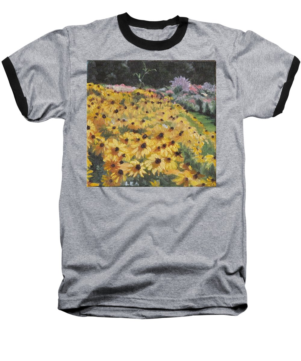 Floral Baseball T-Shirt featuring the painting Black-eyed Susans by Lea Novak