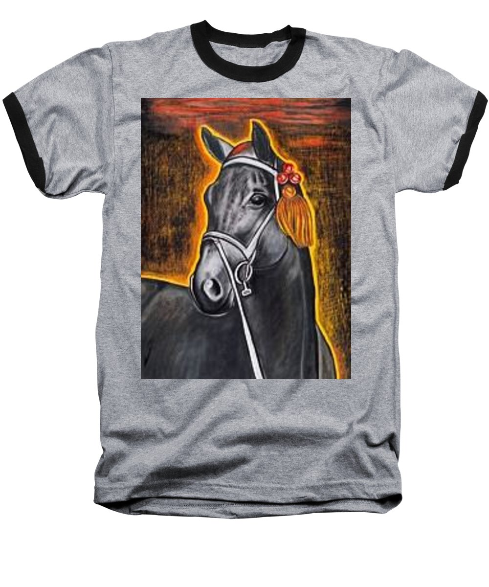 Horse Baseball T-Shirt featuring the painting Black Horse by Isabell Von Piotrowski