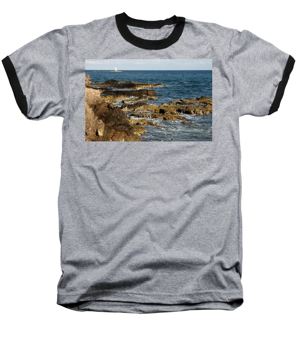 Sailboat Baseball T-Shirt featuring the photograph Black Rock Point And Sailboat by Jean Macaluso