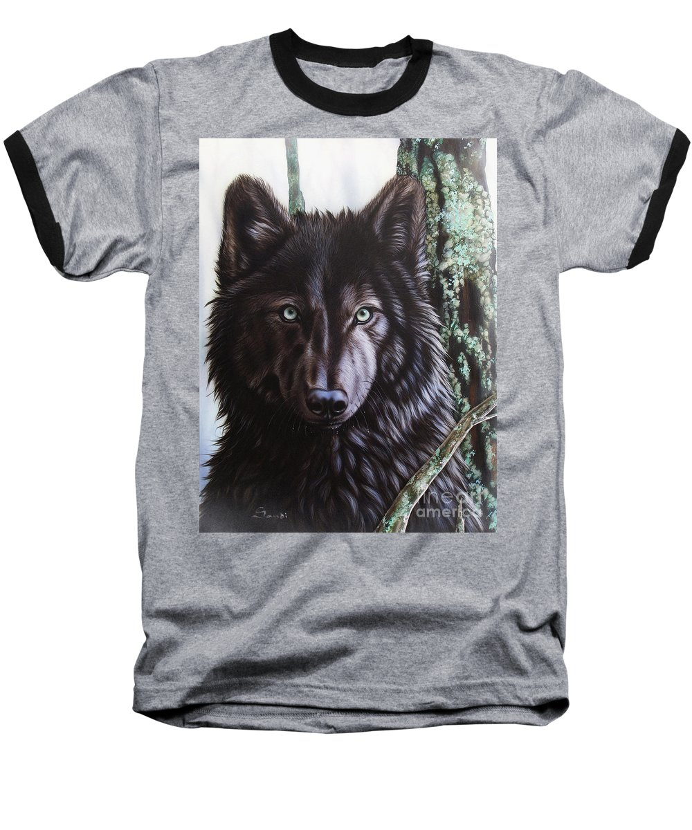Wolves Baseball T-Shirt featuring the painting Black Wolf by Sandi Baker